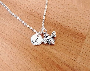 Tiny Bee Necklace, Initial Charm Necklace, Personalized Necklace, Sterling Silver, Gold Fill, Initial Charm, Dainty Necklace, Honey Bee