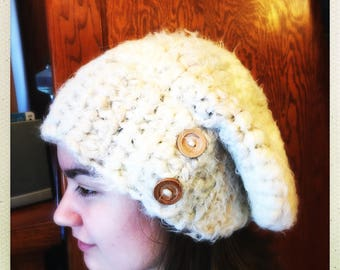 Crocheted Cream Wool Slouchy Hat w/Buttons