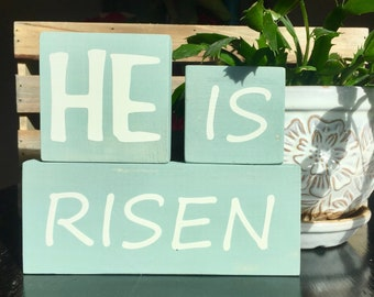 easter sign, easter decor, easter blocks, He Is Risen, Spring Decor, Christian Sign