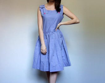 Vintage Embroidered Dress with Pockets Simple Blue Summer Dress - Large L