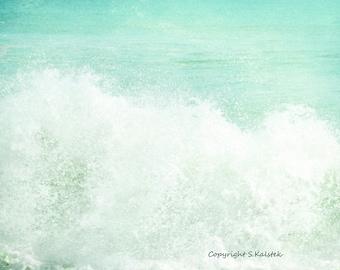 Ocean Photograph Aqua Teal Sea Green Print Large Ocean Wave Photograph 8x10 The Spell of the Sea