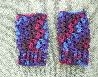 Crocheted  Fingerless Gloves Red / Blue / Brown / Purple Wool