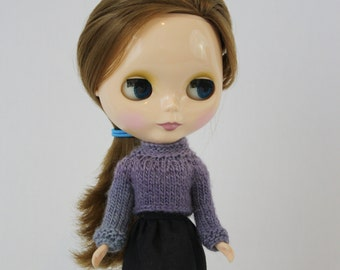 Toby Sweater for Blythe knitting PATTERN long-sleeved doll cropped crop sweater - instant download - permission to sell finished objects