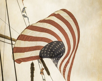 Vintage Inspired, American Flag Photo, Patriotic Art, Stars & Stripes, Americana Decor, Rustic, Wall Art, Casual, Brown Tan, Red White Blue