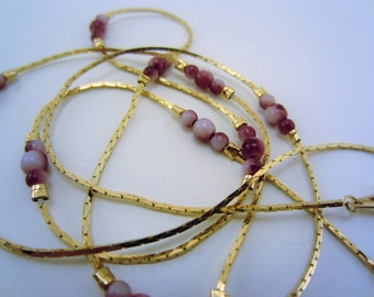 Vintage necklace. Long necklace. Gold necklace. Purple beads. Layering necklace. Gift for her. Raspberry beads.