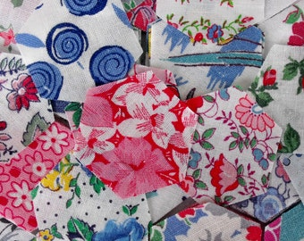 RESERVED 100 vintage feedsack fabric small hexagons pretty pinks and blues, ready to sew