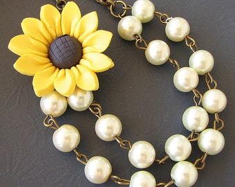 Sunflower Necklace Sunflower Jewelry Yellow Necklace Statement Jewelry Beaded Necklace Bridesmaid Necklace