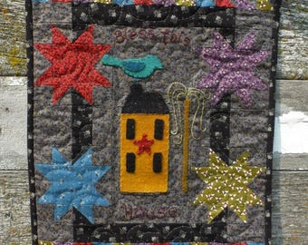 Cotton and Wool Applique - Bless This House - Wall Hanging