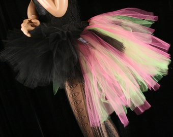 tutu skirt Adult Bustle Toxic streamer black apple and hot pink halloween costume goth gothic dance --You Choose Size -- Sisters of the Moon