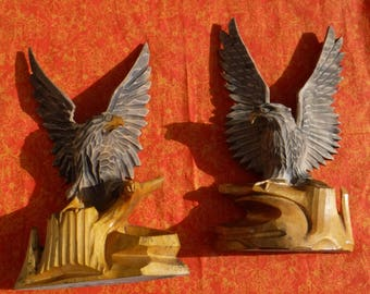 Vintage hand carved  Hawk  or Falcon Bookends Made in the USSR Collectible wood carvings Home decor