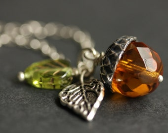 Acorn Necklace. Amber Acorn & Green Leaf Necklace. Crystal Acorn Pendant. Orange Acorn Charm Necklace. Silver Acorn Jewelry Handmade Jewelry