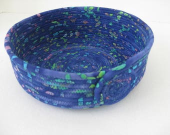Blue Fabric Basket, Coiled Fabric Bowl, Rope Coiled Basket, Hand Coiled Fabric Basket, Clothesline Baskets, Blue Bowl, Fabric Basket
