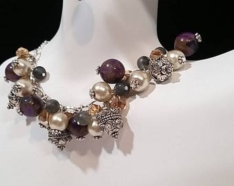 Purple and Silver Cluster Necklace and Earring Set with Glass Pearl Accents- Only 1 Available