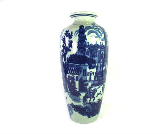 Vintage Blue and White Stoneware Vase