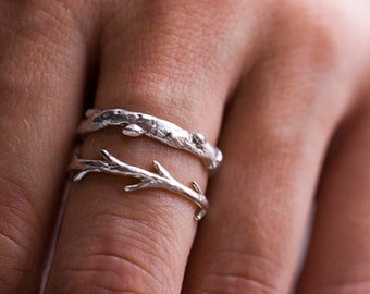 Silver Branch Ring & Twig Ring Set | Stacking Ring Set | Nature Inspired Rings
