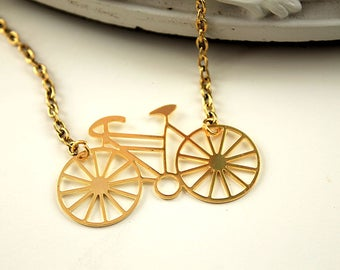 Golden bike bicycle necklace  filigree geometric modern