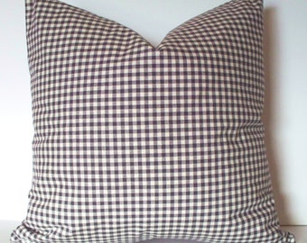Blue Check Pillow Cover Navy Buffalo Gingham Pillow Farmhouse Pillow Cover Indigo 0