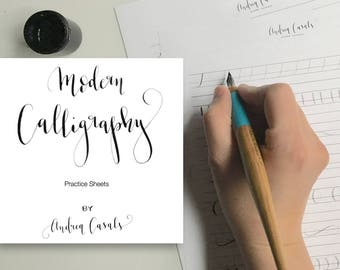 PRINTABLE Modern Calligraphy Exercises, Alphabet Sample & Numbers || Modern Calligraphy Printable Practice Sheets
