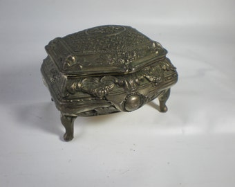Beautiful Vintage Sweet Silver Trinket Box