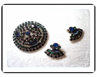 Blue/Green Brooch Set  - Domed Jeweltone Rhinestones  Set  Demi-1898a-04110000