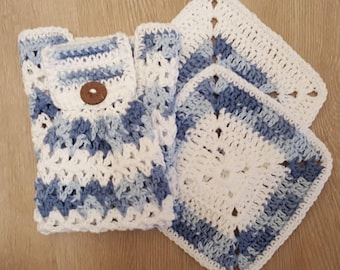 Set of Handmade Crochet Dishtowel and 2 Dishcloths in White/Faded Denim, Dish towel, Dish cloth, Cotton