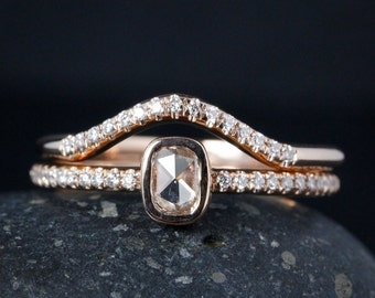 Rose Gold Diamond Ring - Rose Cut Cushion Diamond - Curved Wedding Band