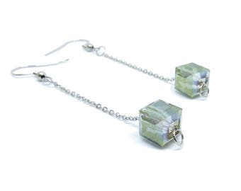 Grey Cube Electroplated Glass Beaded Chain Silver Dangle Earrings
