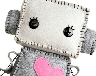 Large Huggable Robot with a Pink Heart