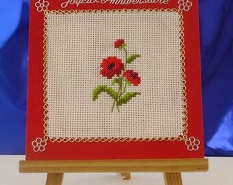 Happy birthday hand embroidered poppy