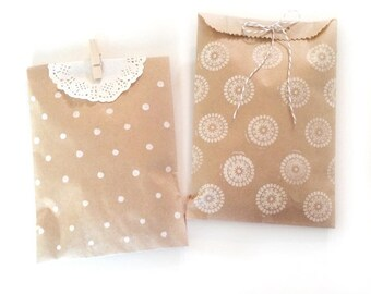 blank paper kraft bags - treat bag - wedding favor bags - flat paper bag - gift bags - kraft paper bags - brown paper bags - set of 20 bags
