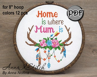 Home is where mum is, Modern cross stitch pattern pdf, Hoop art,  Hand embroidery pattern,  Mothers day gift from daughter, Birthday gift