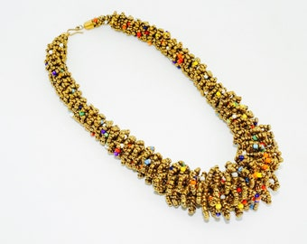 Beaded Gold-Multicolor Specks Necklace