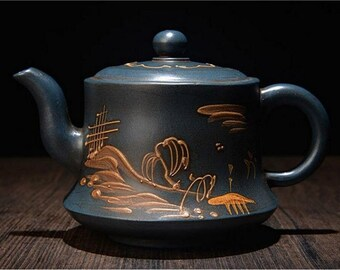 420cc Rare Chinese Zisha Pottery Clumsy Kettle Teapot Mark GeMingXiang