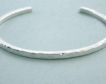 Stacking Cuff Bracelet - Hammered Sterling Silver