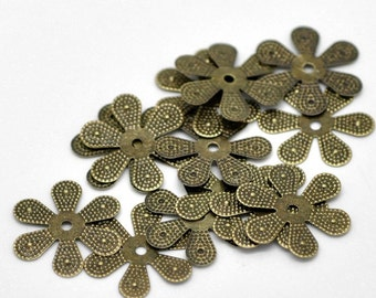 30pc 18mm antique bronze finish filigree wraps/bead caps-1976