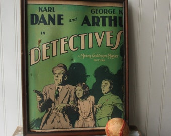 PARTIAL 1928 silent movie poster lobby card AS IS Detectives Karl Dane , George W. Arthur No Glass