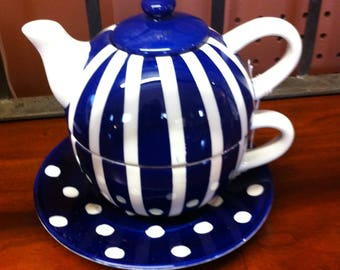 Tea-4-One, Cobalt Blue and White Dots and Stripes Teapot and Oversized Cup With Saucer, 4 Pc Set