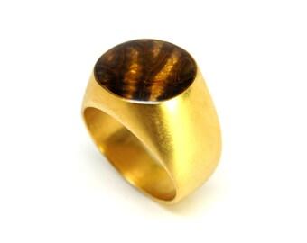 Gold Cicada Round Ring