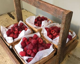 Vintage Wooden Berry Picking Tray with Wooden Berry Baskets - Vintage Berry Picking Trug