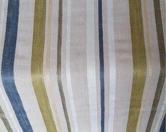 Beige OLIVE NAVY White Linen STRIPE Upholstery Fabric, 20-60-13-0617