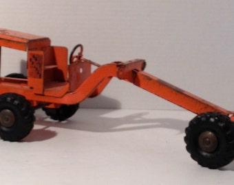 1940's Orange Structo Steel Road Grader Tractor