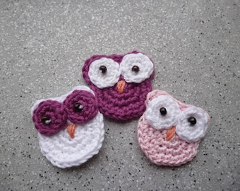 3 applied owls cotton crochet handmade
