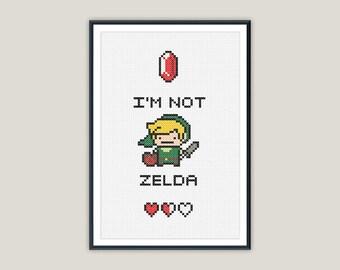 Link 'I'm not Zelda' Cross Stitch - PATTERN