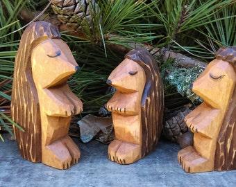 Hedgehog Wood Carved Forest Animal Set (Hedgehog Family)
