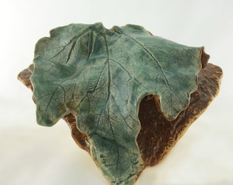 Handmade ZUCCHINI LEAF  Floats To Mother Earth,Green Glazes, Dramatic Wall Pocket in Clay - Texture Reminiscent of Summer Garden Freshness