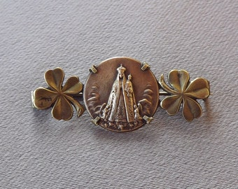 Madonna and Child- Antique French Religious Brooch with Clovers - Religious Jewelry - Gold Plate