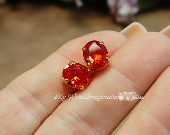 Padparadscha Orange CZ, 10x8mm Faceted Oval Gemstone, Your Choice Silver or Gold Plated Sew On Setting, Jewelry Supply, Sunset Orange
