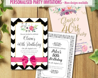 50x Personalised Birthday Party Invitations for 40th 50th 60th 30th 21st with Envelopes