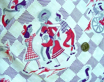 RARE / Vintage Feedsack Flour Sack Novelty Cotton Fabric -  Cutest Girls, Boys and Puppy Dogs Square Dancing  // 36 x 42