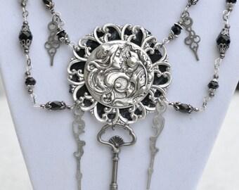 Silver Filigree Necklace, Silver Victorian Necklace, Silver Art Nouveau Necklace, Silver Steampunk Necklace, Silver Skeleton Key Necklace